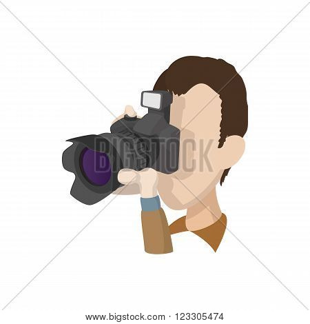 Photographer icon in cartoon style isolated on white background. Photographer taking pictures