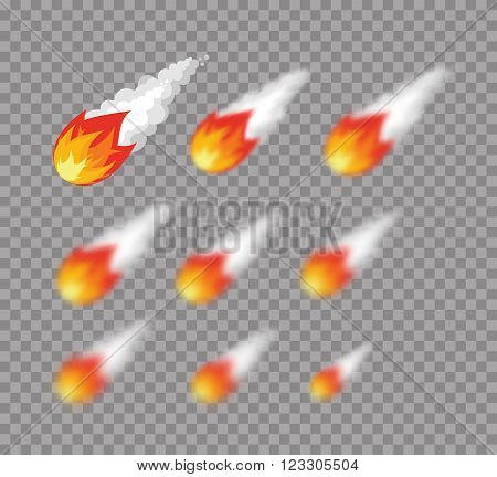 Meteorite. Falling Fireball. Set Meteorite With Varying Degrees Of Blur. Blur Effect Meteor. Astrono
