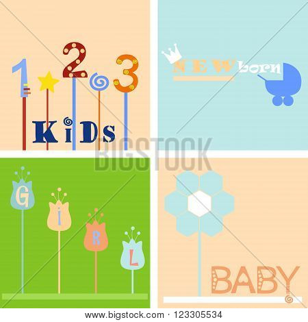 four color children's background and logo labels