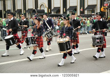 NEW YORK - MARCH 17, 2016: Drummers marching at the St. Patrick's Day Parade in New York.