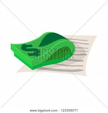 Contract with stack of dollars icon in cartoon style on a white background