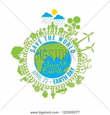Eco Friendly, green energy concept, vector illustration. Solar energy town, wind energy. Save the planet concept. Go green. Save the Earth. April 22 - Earth Day.