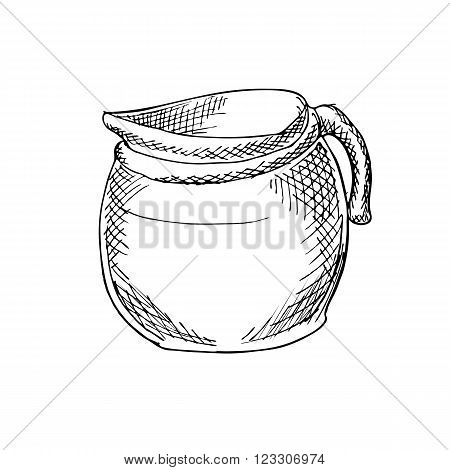 Engraving illustration of coffee pot for serving Americano coffee isolated on white background