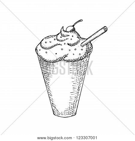 Engraving illustration of glass of iced coffee with straw isolated on white background