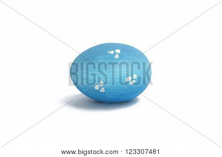 Egg Painted In Blue On A White