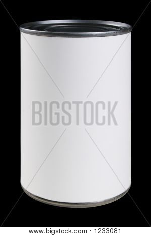 White Can Label With Clipping Path