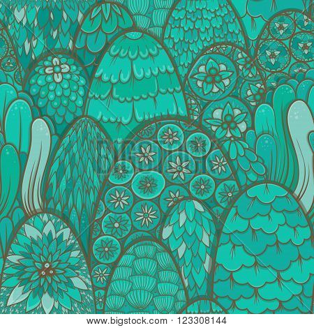 Stylized seamless pattern with turquoise trees and bushes. Vector botanical background. Asian theme
