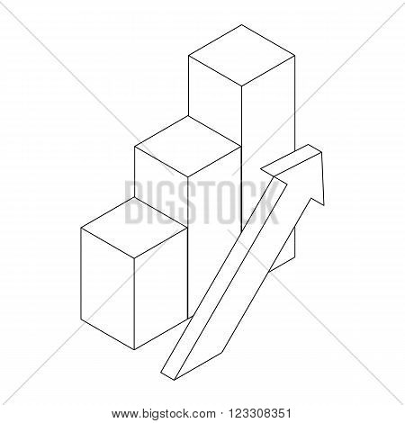 Diagram icon in isometric 3d style isolated on white background