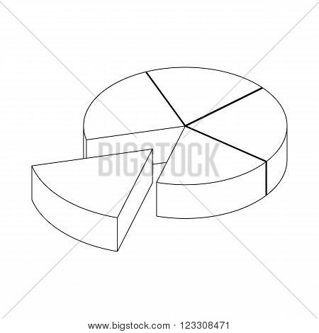 Segmented diagram icon in isometric 3d style isolated on white background