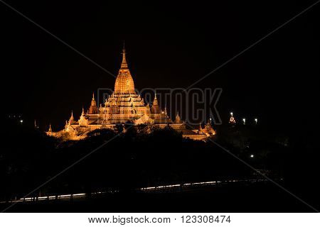 Ancient Ananda Pagoda before sunrise with lightup Bagan(Pagan) Mandalay Myanmar