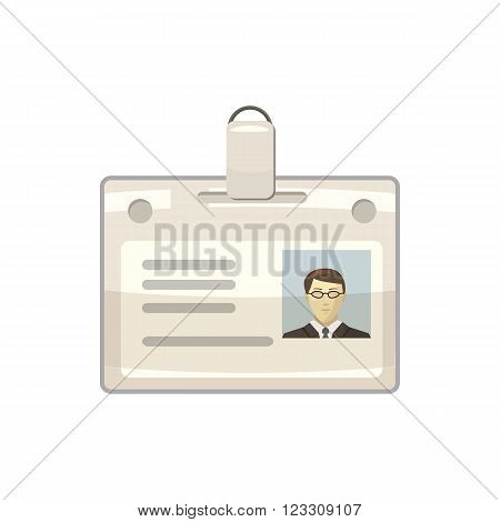 Identification card icon in cartoon style on a white background