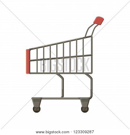 Shopping cart icon in cartoon style on a white background