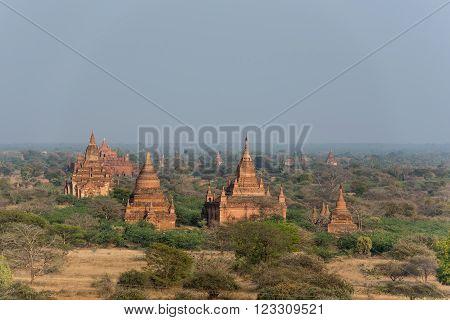 Pagoda landscape the plain of Bagan Myanmar