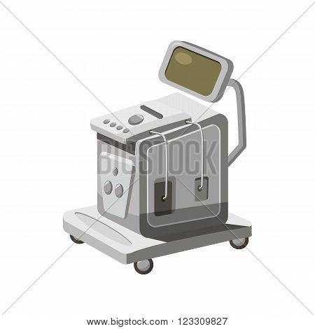 Ultrasonic scanner for medical examination icon in cartoon style on a white background