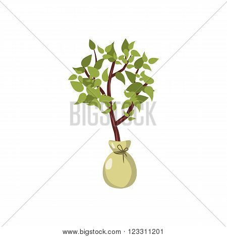 Seedling icon in cartoon style on a white background
