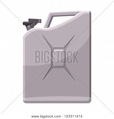 Metalic jerrycan icon in cartoon style on a white background