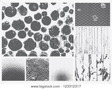 Grunge texture vector set. Black and white old rough background collection. Seven unique grunge texture. logs, wire mesh fence, boards, falling plaster, rough glass, tree rings, saw cut tree trunk.