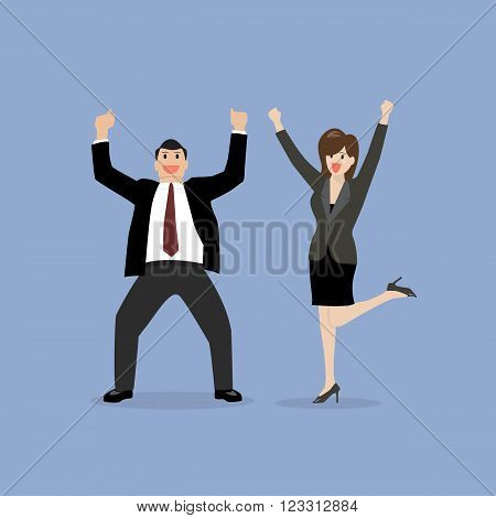 Business man and business woman celebrating success. vector illustration