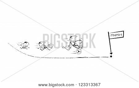 Vector draw doodle cartoon. Businessman competition Running Races to finish line. Businessman winning a race is ride two wheel electric vehicles. Business competition success concept.