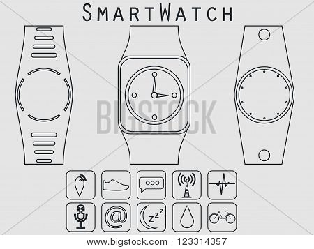 Smart Watches, Fitness Tracker. Icon From The Geometric Lines. Vector.