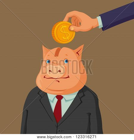 hand putting coin into a piggy bank dressed up in suit