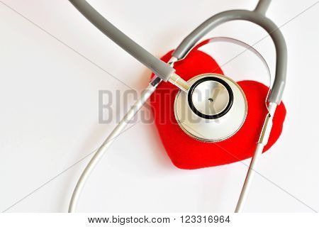 Heart with stethoscope, heart check up concept