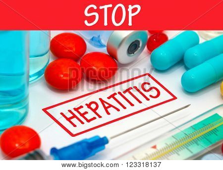 Stop hepatitis. Vaccine to treat disease. Syringe and vaccine with drugs.