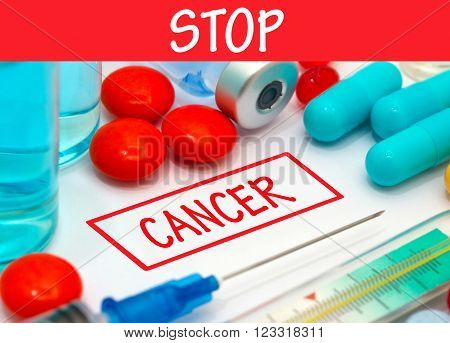 Stop cancer. Vaccine to treat disease. Syringe and vaccine with drugs.