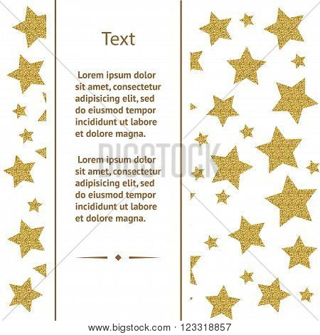 Greeting card template with gold stars on white background