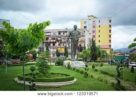 Shkoder, Albania - June 22, 2010. Small park in the center of Shkoder city with monument to the Albanian hero Isa Boletini