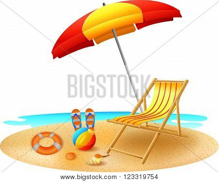 vector illustration of Recliner under garden umbrella in sea beach