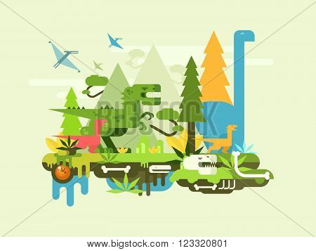Dawn of the dinosaurs. Prehistoric jurassic animal, reptile monster, landscape and creature, vector illustration