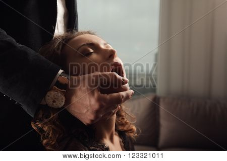 Fashion Studio Photo Of A Sensual Couple In Lingerie And Tuxedo