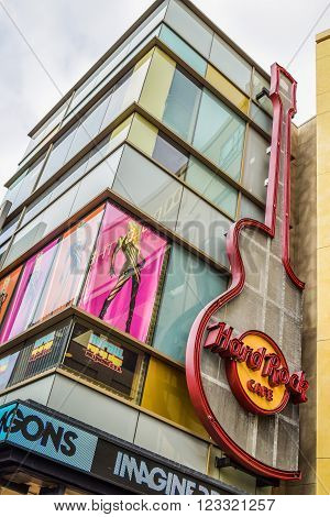 Los Angeles, CA, USA . January 16, 2016: Hard Rock Cafe Hollywood boulevard Los Angeles. Hard Rock Cafe is an American chain of theme restaurant founded in 1972