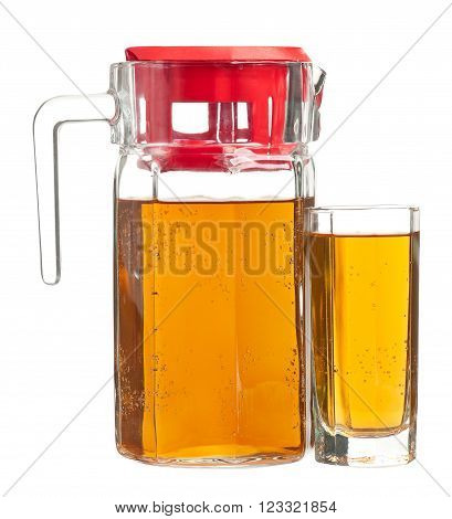 Fresh apple juice in the glass isolated on a white background close-up