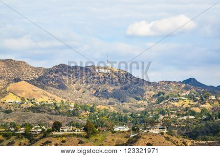 Los Angeles, CA, USA . January 16, 2016: The world famous landmark Hollywood Sign. A view of the Hollywood sign