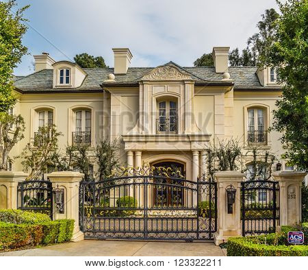 Beverly Hills, CA, USA - January 16, 2016: California Dream Houses Beverly Hills .Beautiful homes and estates in Los Angeles, CA.