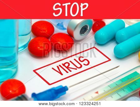 Stop virus. Vaccine to treat disease. Syringe and vaccine with drugs.