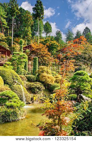 NIKKO, JAPAN - OCTOBER 26, 2012: Japanese park near Nikko townTochigi Prefecture Japan