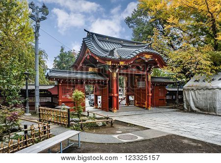 CHICHIBU, JAPAN - OCTOBER 26, 2012: Entrance gate to Chichibu Shrine Chichibu Saitama prefecture Japan. Chichibu is the one of the oldest Shrine in Japan and has over 1000 years of history.