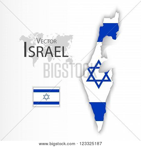 State of Israel ( flag and map )( transportation and tourism concept )