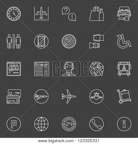 Air travel or airport line icons - vector collection of airport white symbols on dark background