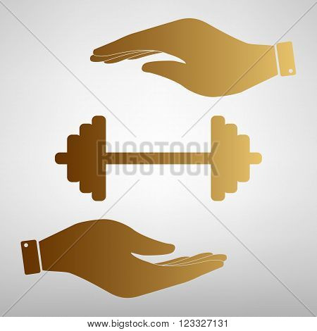 Dumbbell weights sign. Save or protect symbol by hands. Golden Effect.