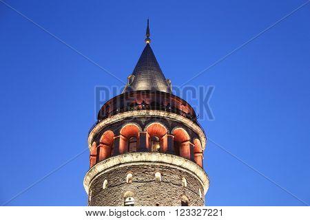 ISTANBUL, TURKEY - JANUARY 31, 2016: Galata Tower in Beyoglu Istanbul City Turkey
