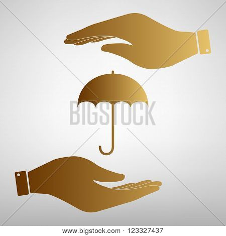 Umbrella sign icon. Rain protection symbol. Save or protect symbol by hands. Golden Effect.