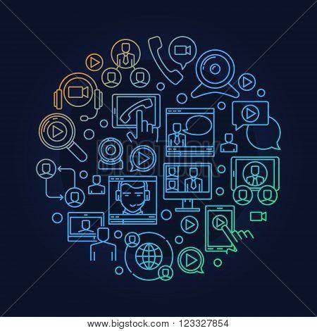 Online video conference illustration. Round online meeting vector symbol. Bright webinar sign