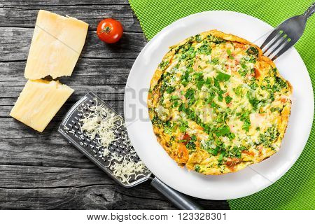 frittata with deviled eggs ricotta onion tomatoes and bell peppers