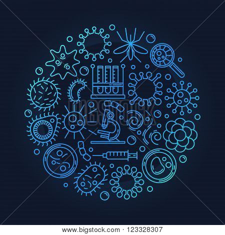 Virology or microbiology illustration - vector dark blue colorful round virus symbol or sign made with linear icons. Virus background