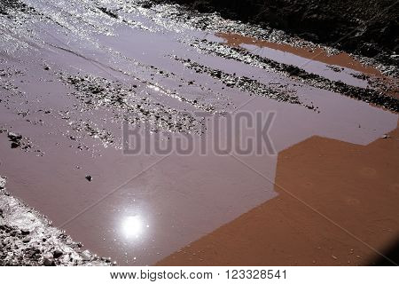 puddle with mud on a road after rain