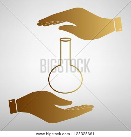 Tube. Laboratory glass sign. Flat style icon vector illustration.
